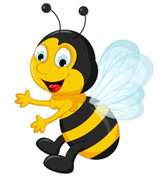 Happy bee cartoon flying vector