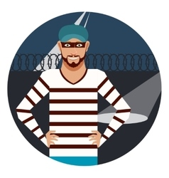 Thief in the prison vector