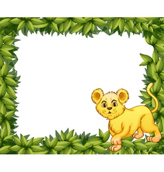 A young tiger in a blank leafy signage vector image vector image