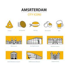 Amsterdam city icons vector