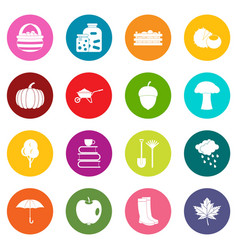 Autumn icons many colors set vector