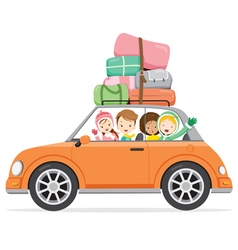 Boy and girls driving car to travel vector