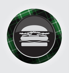 Button with green black tartan - hamburger icon vector
