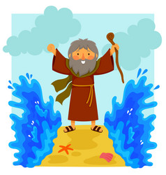 Cartoon moses parting the red sea vector