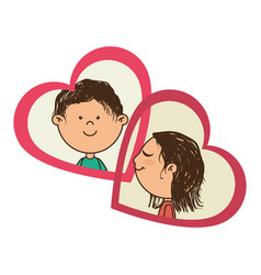 color silhouette with her and him in hearts frames vector image