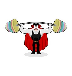 Dracula and barbell gym over his head exercises on vector