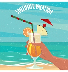 Exotic cocktail on the background of the sea vector image vector image