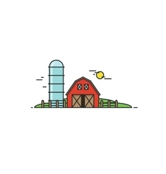 Farm in flat line style isolated vector