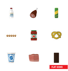Flat icon food set of spaghetti ketchup eggshell vector
