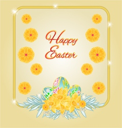 Frame Easter eggs and daffodils place for text vector image vector image