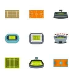 Game at stadium icons set flat style vector