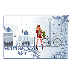 Greeting card for the winter holidays vector