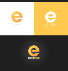 Letter e logo design icon set background vector
