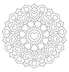 mandala with hearts coloring book page vector image