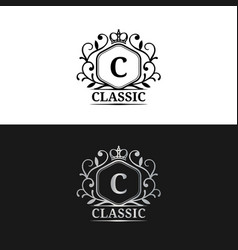 monogram logo template luxury letter vector image vector image