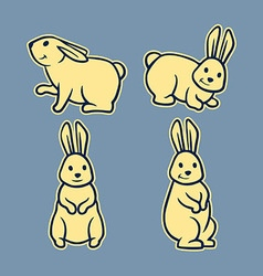 Rabbit Line Art Set2 vector image vector image
