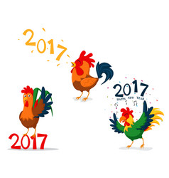 Rooster cartoon character china new year vector