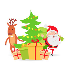 Santa claus and deer near decorated x-mas tree vector