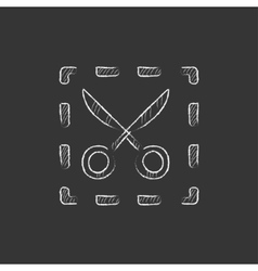 Scissors with dotted lines drawn in chalk icon vector
