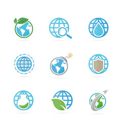 set of world logo combination planet and earth vector image