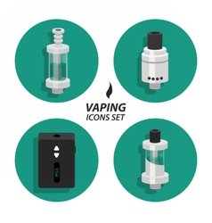 Set vaping flat icons vector