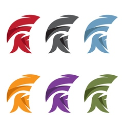 Simple set of spartan helmet vector
