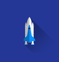 Space shuttle in a flat style with a long shadow vector