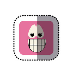 Sticker square colorful shape emoticon happy in vector