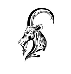 tribal goat head tattoo vector image vector image