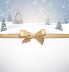 Winter background with golden bow vector image