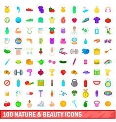 100 nature and beauty icons set cartoon style vector