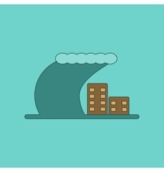 Flat icon on background tsunami city vector