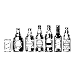 Set icons of beer bottles vector