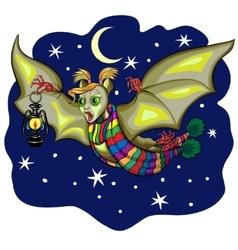 Cute Cartoon Halloween bat flying vector image