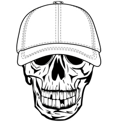 Skull in baseball cap vector