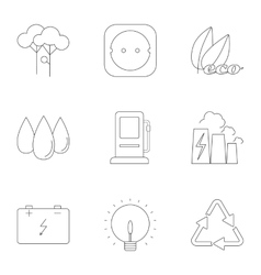 Types of energy icons set outline style vector