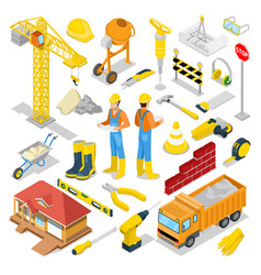 Isometric builder with construction instruments vector