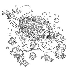 Beautiful little mermaid girl swimming with sea vector