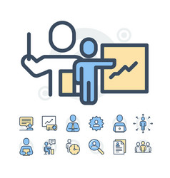 simple set of business people related line vector image