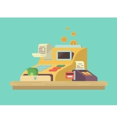 Cash register in flat style vector