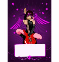 girl with guitar vector image