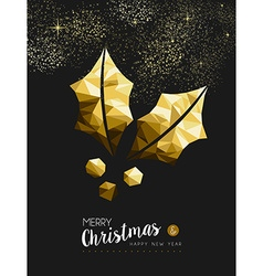 Merry christmas new year golden holly low poly vector