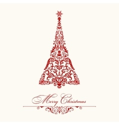 Christmas tree red vintage vector