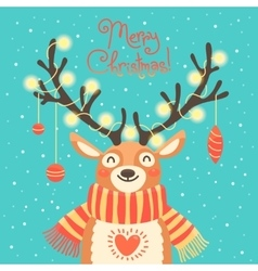 Christmas card cute cartoon deer with garlands on vector