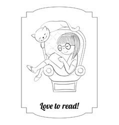 Coloring girl reading in an arm-chair vector