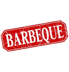 Barbeque red square vintage grunge isolated sign vector