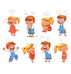 Basic emotions funny cartoon character vector