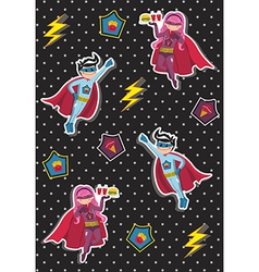 Cartoons superhero kids pattern vector image