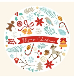 Christmas round composition vector