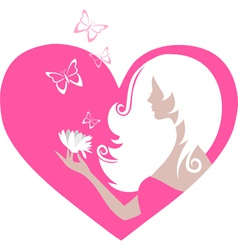 Cute girl with butterflies and a flower in a heart vector image vector image